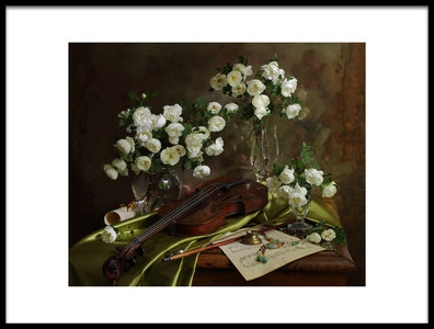 Art print titled Still Life With Violin and Flowers by the artist Andrey Morozov