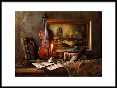 Art print titled Still Life With Violin and Painting by the artist Andrey Morozov