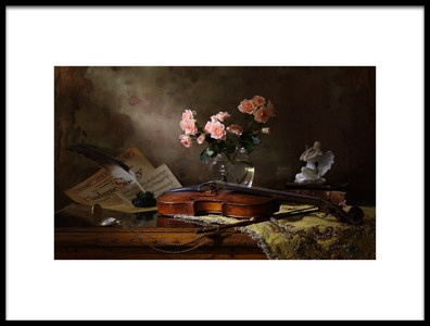 Art print titled Still Life With Violin and Roses by the artist Andrey Morozov
