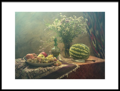 Buy this art print titled Still Life With Watermelon and Fruit by the artist UstinaGreen