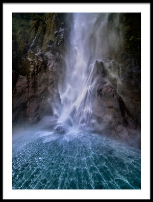Buy this art print titled Stirling Falls Along Milford Sound by the artist Hua Zhu