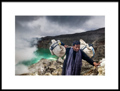 Art print titled Sulphur Miner In Ijen Volcano by the artist Francisco Mendoza Ruiz