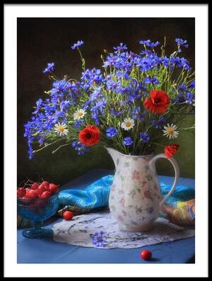 Art print titled Summer Still Life With Wildflowers by the artist Tatyana Skorokhod (Татьяна Скороход)