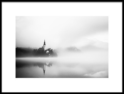 Art print titled Sunrise at Lake Bled by the artist Lubos Balazovic