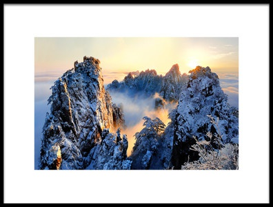 Art print titled Sunrise at Mt Huang Shan by the artist Adam Wong