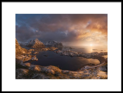 Art print titled Sunrise Over Reine by the artist INIGO CIA