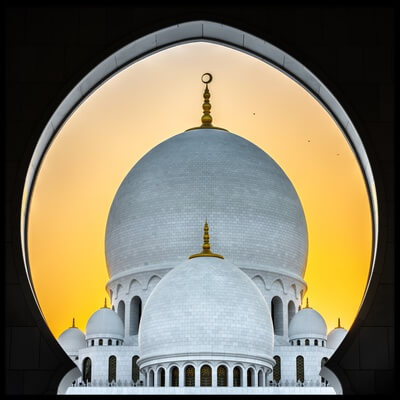 Buy this art print titled Sunset In Abu Dhabi by the artist Wayne Pearson