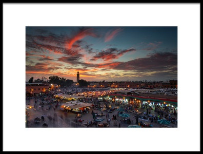 Buy this art print titled Sunset Over Jemaa Le Fnaa Square In Marrakech, Morocco by the artist Dan Mirica