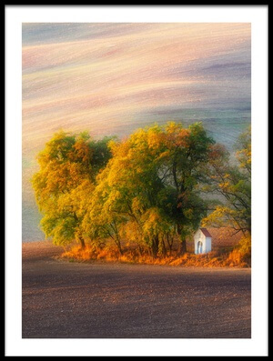 Art print titled The Autumn Chapel by the artist Piotr Krol (Bax)