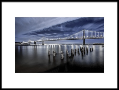 Art print titled The Bay Bridge Lights San Francisco by the artist Toby Harriman