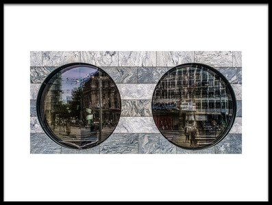 Art print titled The Binoculars of the Bank by the artist Luc Vangindertael (laGrange)