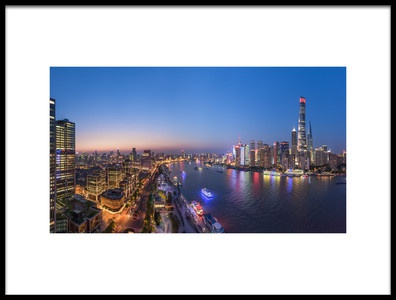 Buy this art print titled The Blue Hour In Shanghai by the artist Barry Chen