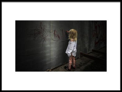 Art print titled The Girl With the Red Pen by the artist Jacques Montel