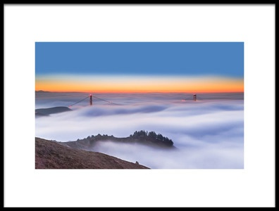 Art print titled The Golden Gate Bridge In the Fog by the artist Jenny Qiu