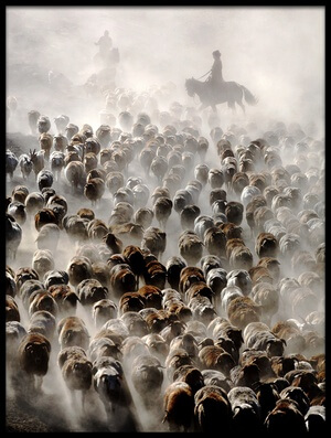 Art print titled The Great Migration of China by the artist Adam Wong