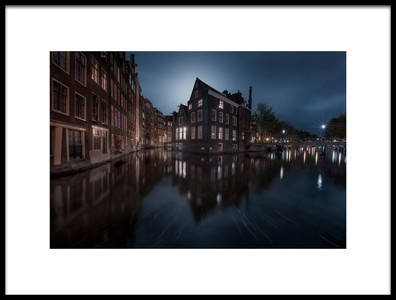 Art print titled The House Under the Moonlight by the artist Javier de la Torre