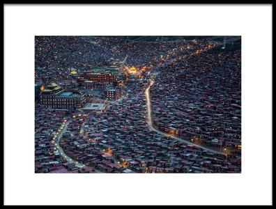Art print titled The Larung Ngarig Buddhist Academy at Night by the artist Joe B N Leung