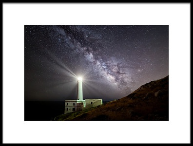 Art print titled The Lighthouse and the Milky Way by the artist Luigi Chiriaco