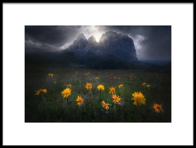 Art print titled The Majesty of Sassolungo by the artist Luca Rebustini
