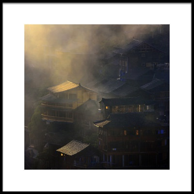 Art print titled The Miao Village In Mist by the artist Raymond Ren Rong Liu