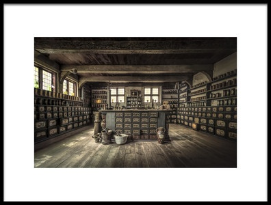 Art print titled The Pharmacy by the artist Ole Moberg Steffensen