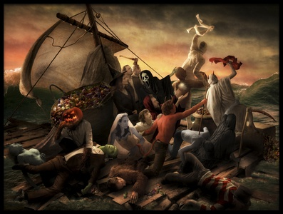 Art print titled The Raft of Halloween by the artist Christophe Kiciak