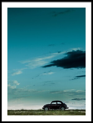 Art print titled The Red VW Beetle by the artist camilo otero