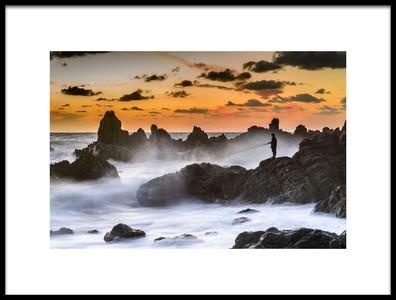 Art print titled The Sunset Fisherman by the artist MERİÇ AKTAR