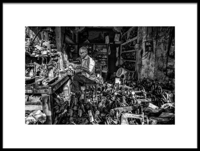 Art print titled The Tailor and Sewing Machines by the artist Andrei Nicolas - The Traveler