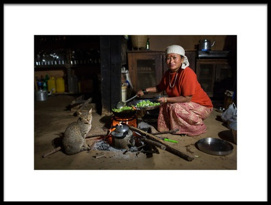 Buy this art print titled Traditional Nepal Woman Cooking by the artist Dan Mirica