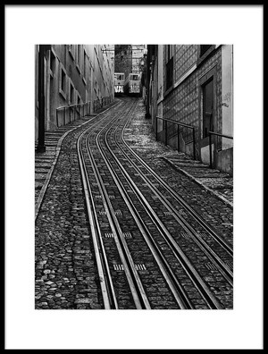 Art print titled Trams In Lisbon by the artist Jean-Louis VIRETTI