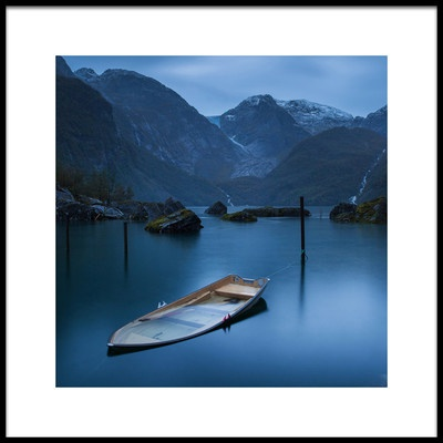 Art print titled Twilight On the Lake at the Glacier Folgefonna by the artist YuppiDu
