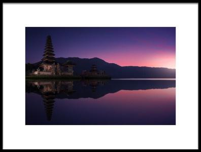 Art print titled Ulun Danu Bratan Temple at Dawn by the artist Merakiphotographer