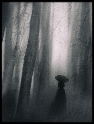 Buy this art print titled Umbrella In the Forest by the artist Anna Kudriavtseva