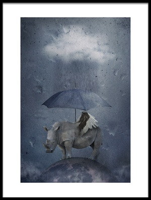 Art print titled Under the Rain by the artist Muriel Vekemans