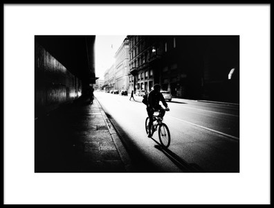 Art print titled Urban Cyclist by the artist Massimiliano Mancini
