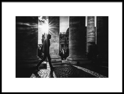 Art print titled Walking Between Lights and Shadows by the artist Massimiliano Mancini