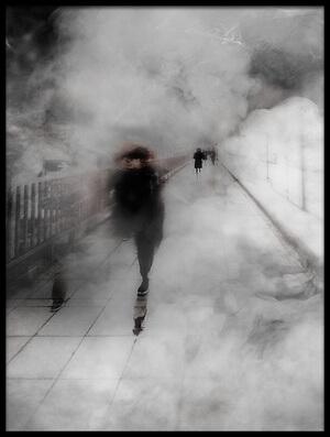 Art print titled Walking Through the Fog by the artist Carmine Chiriacò