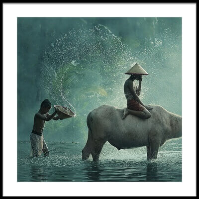 Buy this art print titled Water Buffalo by the artist Vichaya