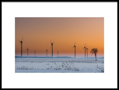 Art print titled Wind Turbines an a Lonely Tree by the artist Patrick Dessureault