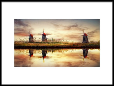 Buy this art print titled Windmills On Salt Pond by the artist Tiger Seo