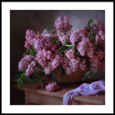 Art print titled With a Basket of Lilacs by the artist Tatyana Skorokhod (Татьяна Скороход)