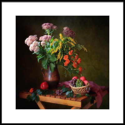 Art print titled With a Bouquet and Fruits by the artist Tatyana Skorokhod (Татьяна Скороход)