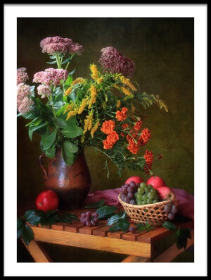 Buy this art print titled With a Bouquet and Fruits by the artist Tatyana Skorokhod (Татьяна Скороход)