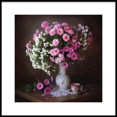 Art print titled With a Bouquet of Chrysanthemums by the artist Tatyana Skorokhod (Татьяна Скороход)
