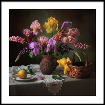 Art print titled With a Bouquet of Irises and Lupine by the artist Tatyana Skorokhod (Татьяна Скороход)