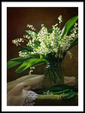 Art print titled With a Bouquet of Lilies of the Valley by the artist Tatyana Skorokhod (Татьяна Скороход)