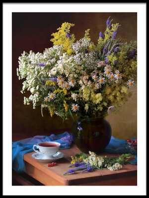 Buy this art print titled With a Bouquet of Meadow Flowers by the artist Tatyana Skorokhod (Татьяна Скороход)