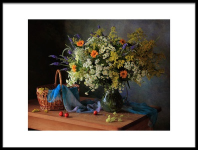 Art print titled With a Bouquet of Meadow Flowers by the artist Tatyana Skorokhod (Татьяна Скороход)