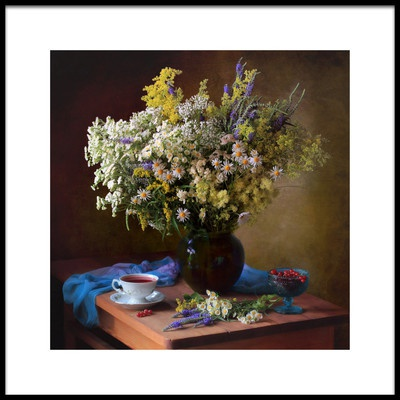 Art print titled With a Bouquet of Meadow Flowers by the artist Tatyana Skorokhod (Татьяна Скороход)